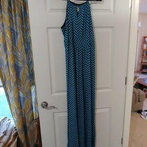 Light Blue & Navy Maxi Dress